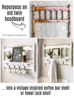 The Frugal Homemaker — Your guide to turning your house into a home… one DIY project and yard sale find at a time Headboard With Shelves, Twin Headboard, Wood Headboard, Wall Shelves, Repurposed Furniture, Diy Furniture, Shelf Over Door, Yard Sale Finds, Kitchen Desks