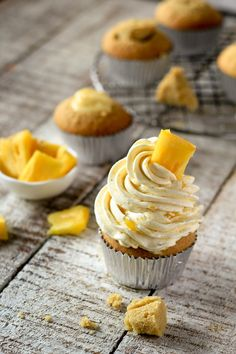 grapefruit curd and caramelized pineapple cupcakes close up 01 the cupcake confession @theCconfession