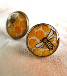 Adorable accessories: Honey Bee Earrings -- Hand Painted Brass Post Earrings by SarahLambertCook https://www.etsy.com/listing/110762844/honey-bee-earrings-hand-painted-brass
