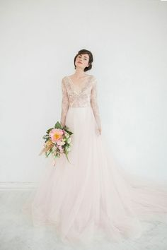 orchid and tulle wedding dress