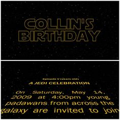Animated Star Wars party invitation: Custom copy scrolls to the theme music, that you can send to guests by email or a YouTube link