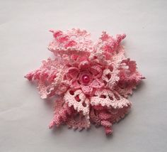 pink brooch pink crochet brooch pink handmade by SuzieSue1972, £15.00