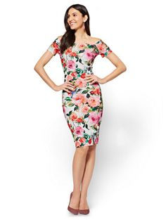 Shop Cap-Sleeve Sheath Dress - Floral. Find your perfect size online at the best price at New York & Company.