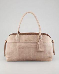 Brunello Cucinelli Matte Pebbled Leather Satchel Bag, Gray