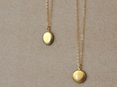TINY VINTAGE LOCKETS delicate 14k gold filled everyday wear minimalist necklace with tiny vintage raw brass lockets on Etsy $19.50