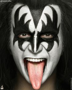 ArtStation Gene Simmons from Kiss Hossein Diba Kiss Band, Kiss Rock Bands, Gene Simmons Makeup, Gene Simmons Costume, Gene Simmons Tongue, Gene Simmons Kiss, Kiss Costume, Cute Couple Halloween Costumes, Demon Makeup