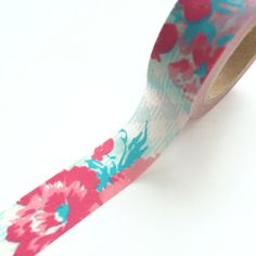 15mm x 10m washi masking tape  blue red flower dav
