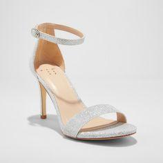 11a72a5079b0 Women s Myla Satin Shimmer Stiletto Pump Heel Sandal - A New Day White 7.5  Stiletto Pumps