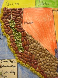 Great way to make a map of a country or region! Love that it is so touchable! Use for Alberta regions. California Regions, California History, California Art, Teaching Geography, Primary Teaching, 4th Grade Social Studies, Teaching Social Studies, Map Projects, School Projects
