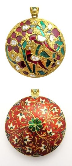 Contemporary Mughal Style Diamond, Enamel and Gold Pendant, Beautifully… Enamel Jewelry, Jewelry Art, Gold Jewelry, Mughal Jewelry, Indian Jewelry, Gold Pendant, Pendant Jewelry, Antique Necklace, Cushion Cut Diamonds