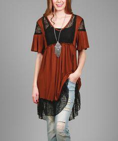 Look at this #zulilyfind! Rust & Gray Lace-Accent Empire-Waist Dress #zulilyfinds