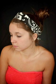 Damask headband black and white hair tie by TopKnotAccessories, $21.99