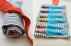 non-traditional crayon roll - love the bunting!