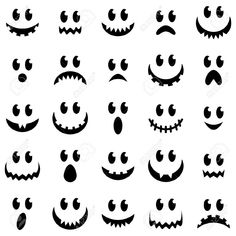 Vector Collection of Spooky Halloween Ghost and Pumpkin Faces Stock Vector - 44180104 imagenes fantasmas Spooky Halloween, Halloween Drawings, Halloween Illustration, Halloween Crafts For Kids, Holidays Halloween, Halloween Pumpkins, Fall Crafts, Happy Halloween, Halloween Decorations