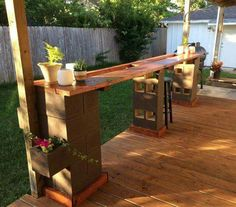 Cinder blocks & wood