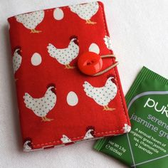 Happy hens tea bag wallet, travel tea holder - red - perfect stocking filler £6.00