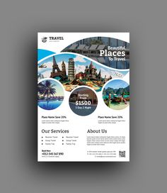 This corporate flyer is designed in Adobe Photoshop. All PSD files are very well organized, flyer templates. Travel Brochure Design, Travel Design, Flyer Layout, Business Flyer Templates, Flyer Design Templates, Booklet Design, Business Ideas, Baby Massage, Graphic Design Flyer
