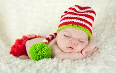 Infant in Christmas hat