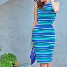 Torn By Ronny Kobo Striped Cut Out Dress- Size XS  | eBay