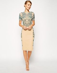 ASOS Baroque Embellished Midi Shift Dress
