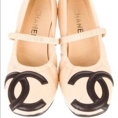 SOLD 💋💋💋Authentic Chanel  leather Elastic Bands Authentic Chanel Leather Flat 37 1/2 Elastic Bands Slight Heel Resoled for durability & longer lasting CHANEL Shoes