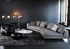 HAMILTON ISLANDS - SOFAS EN Minotti relies on the Hamilton Islands version to offer a further enriched Hamilton seating system, in contents as in form, making room for Gebogenes Sofa, Sofa Furniture, Sofa Set, Living Room Furniture, Furniture Design, Corner Sofa Living Room, New Living Room, Living Room Decor, Sofa Design