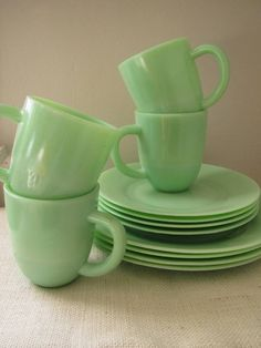 Jade Colored plate and cup set.