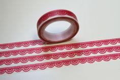 Masking Washi Tape BORDÜRE SCHMAL rot von washitapes auf DaWanda.com
