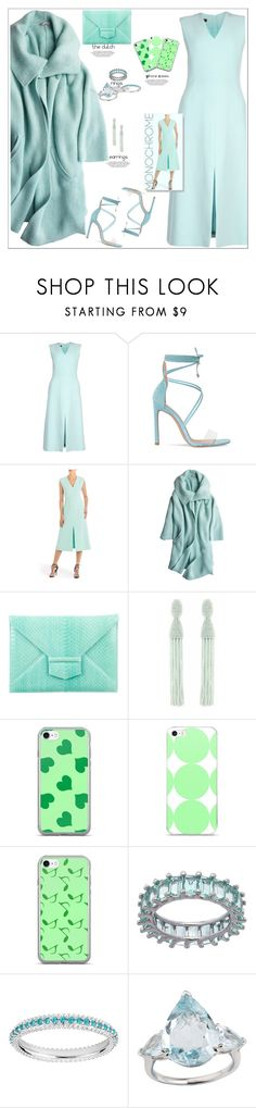 """Mint Chic"" by atelier-briella ❤ liked on Polyvore featuring ESCADA, Calypso St. Barth, Oscar de la Renta, Music Notes, Emily Mortimer Jewellery, monochrome, chic, iPhonecases and ele"
