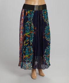 ↪↩ {}{} ↪↩  Navy & Teal Ornate Maxi Skirt - Plus by Meetu Magic #zulily #zulilyfinds