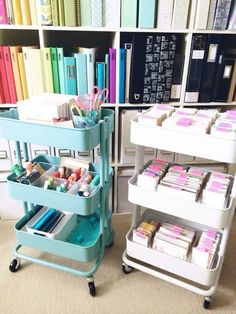 craft storage Ikea RASKOG Cart <<< in LOVE with the blue cart, and I want one Scrapbook Organization, Craft Organization, Scrapbook Supplies, Sticker Organization, Scrapbook Paper, Craft Supplies, Scrapbooking, Ikea Raskog Cart, Ikea Cart