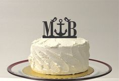 Personalized Anchor Monogram Love Birds Wedding Cake Topper with YOUR Initials Beach Themed Topper Nautical Cake Topper Anchor Cake Topper