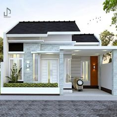 "Desain Rumah Minimalis di Instagram ""Suka gak dengan desain rumah seperti ini? Kira2 apa nih yang mau dikomentarin, bagusnya seperti apa? Yuk di komen 👇 . . Yuk follow…"" Modern Small House Design, Small Modern Home, Small Modern House Exterior, Simple House Design, Minimalis House Design, House Fence Design, House Construction Plan, Modern Bungalow House, Latest House Designs"