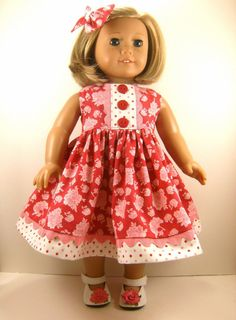 Fits American Girl Doll Clothes 18 Inch Pink Carnations with Polka Dots Sleeveless Dress with Matching Hair Bow. $22.00, via Etsy.