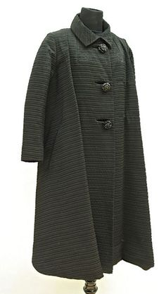 FC0535 Coat, trapeze cut, black silk ottoman with large glass buttons, c. 1959, by Irving Samuel, Montreal