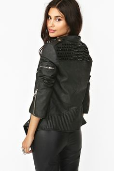 Spiked Moto Jacket in Black