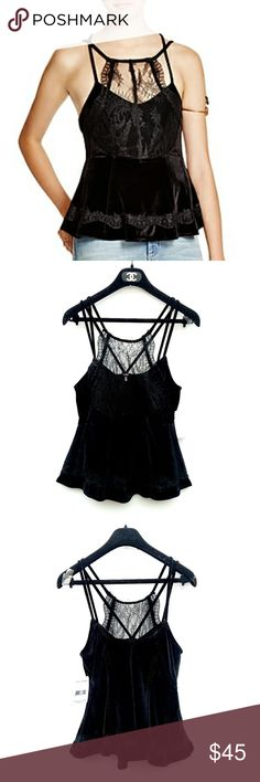 NWT Free People Black Velvet Eyelet Peplum Top NWT Free People Velvet Eyelet Peplum Top Excellent condition. Feel free to ask me any additional questions. No trades or modeling. Happy Poshing! Free People Tops