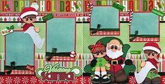 VISITING-SANTA-lap-CHRISTMAS-2-premade-scrapbook-pages-paper-piecing-CHERRY