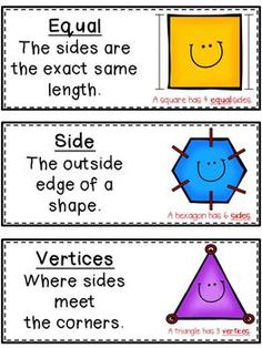 FREE - Geometry Vocabulary Cards for our elementary math students. Nice visual for students. Geometry Vocabulary, Math Vocabulary, Math Resources, Math Activities, The Words, Teaching Math, Teaching Tools, Teaching Shapes, Teaching Reading
