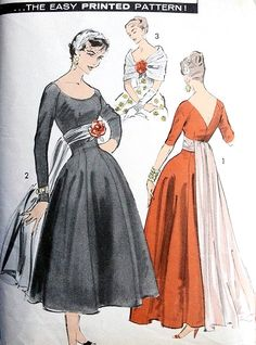 1950s EVENING GOWN DRESS PATTERN PRNCESS EMPIRE, SCOOP NECKLINE, LOW V BACK PURE GLAM ADVANCE PATTERNS 8265
