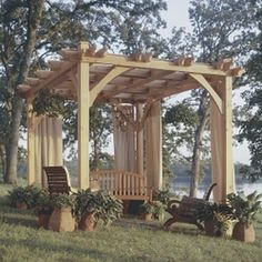An outdoor pavilion, or pergola