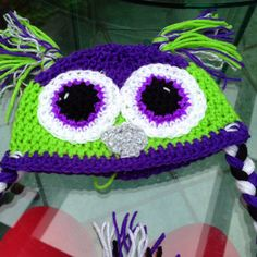 Crocheted Owl Hat  love these colors