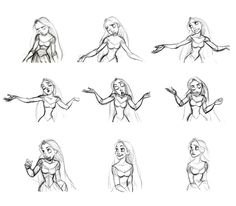 """""""Rapunzel"""" expressions by Glen Keane* Blog/Website   (................) ★    Art of Walt Disney Animation Studios © - Website   (www.disneyanimation.com) • Please support the artists and studios featured here by buying their artworks in the official online stores (www.disneystore.com) • Find more artists at www.facebook.com/CharacterDesignReferences and www.pinterest.com/characterdesigh    ★"""