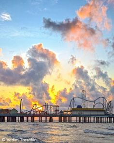Sunrise over the new Galveston Island Historic Pleasure Pier (built where the Flagship Hotel once stood).