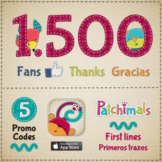 1500 #Facebook fans! To celebrate, we are giving away 5 #promocodes for our app Patchimals - First lines (iPhone / iPad). More info: http://www.facebook.com/patchimals ¡ 1500 fans en Facebook! Para celebrarlo, sorteamos 5 promo codes de nuestra app Patchimals – Primeros trazos (iPhone / iPad). Más información: http://www.facebook.com/patchimals #contest #free #win #kidsapps #appsforkids #iphone #ipad #eduapp #edtech  #concurso #sorteo #giveaway…