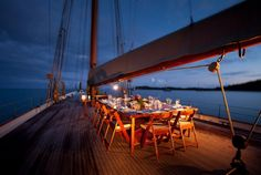 evening party set up ...on the boat deck...I want to go to this!