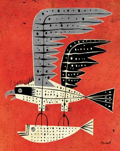 Untitled (2014) by American artist illustrator David Plunkert (b.1965). A reimagining of the Osprey