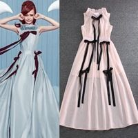 De calidad superior estilo 2016 de moda nuevas mujeres del vestido largo de la pajarita diseño Color Block Slim Fit ALine azul rosa largo Maxi Dress Sexy