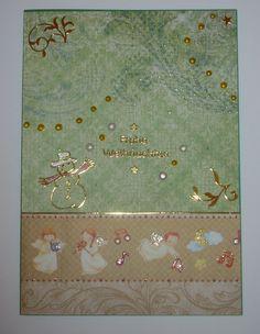 Weihnachtskarte - grün mit Engeln