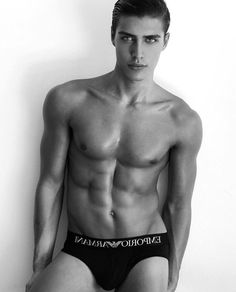 Gianluca Fontana — male models. black and white. muscles. lips. eyebrows. underwear. character inspiration. abs.